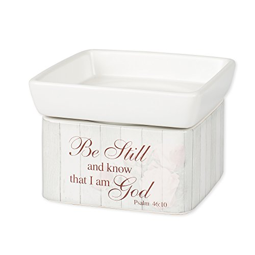 - Elanze Designs Be Still Psalm 46:10 Stoneware Electric 2 in 1 Jar Candle and Wax Tart Oil Warmer