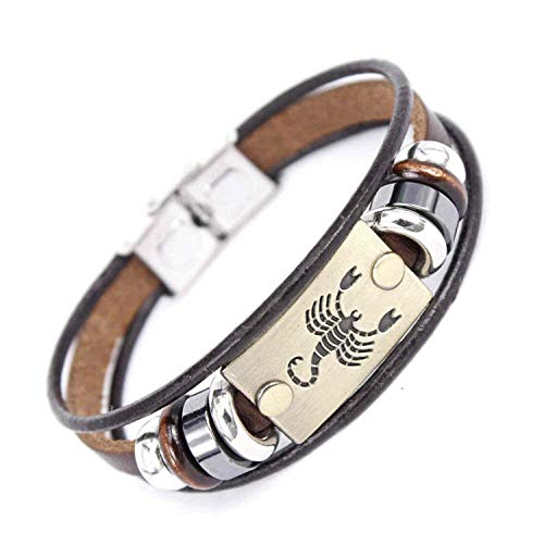 Authentic Hermes Leather Bracelet - Friendshiy Good Fashion 12 Constellations Zodiac Signs Beaded Charm Bracelet with Stainless Steel Clasp Leather Bracelet for Men Women,Scorpio