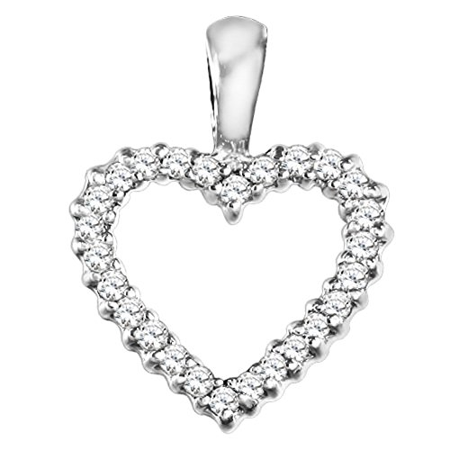 14k White Gold 14k White Gold Classic Heart Shaped Fashion Pendant with Chain set with Diamonds G-H I2-I3 (0.2 ct. twt.) with Diamonds (0.2 ct. twt.)