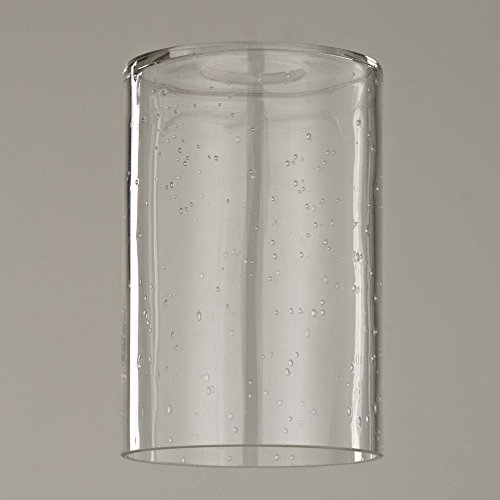 Clear Glass Shade (6-Inch Tall Clear Seeded Cylinder Glass Shade with 1-5/8 Fitter)
