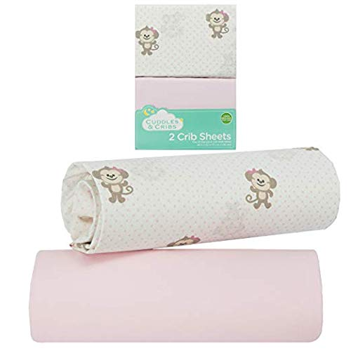 Cuddles & Cribs 2 Pack GOTS Certified Organic Cotton Fitted Crib Sheet – Light Pink, Monkey