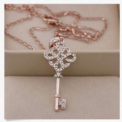 - FidgetKute 1x Wonderful Womens 9K Rose Gold Filled Key Style Necklace & Pendant