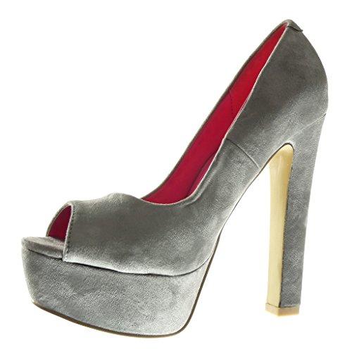 Angkorly - Chaussure Mode Escarpin stiletto plateforme Decolleté femme Talon haut bloc 13.5 CM - Gris