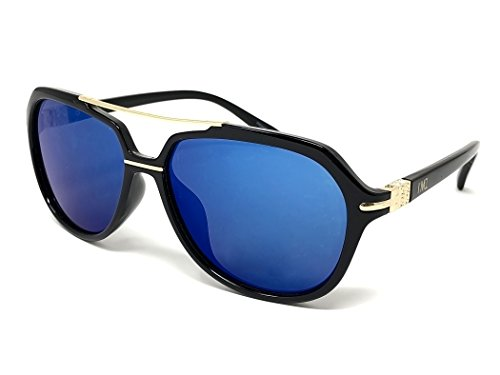 I'M1 Black Frame with Gold Hardware Unisex Modified Aviator Sunglasses in Blue Revo Lens
