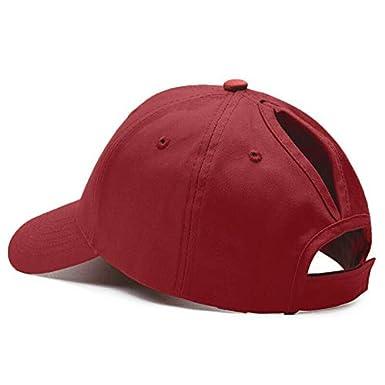 Gomerbesen Womens Mesh Ponytail Baseball Cap Cotton Adjustable Broken Ponycaps Messy Bun Ball Hat