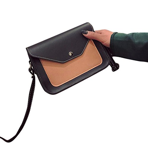 Hunzed Fashion Women Fight Color Leather Handbag Crossbody Shoulder Messenger Phone Coin Bags (Khaki)
