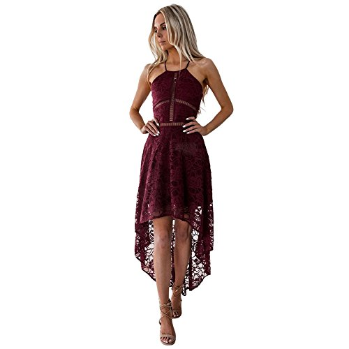 Summer Boho Dresses for Women Lace Casual Beach Sundress Evening Party Dress chaofanjiancai (M, Wine1)
