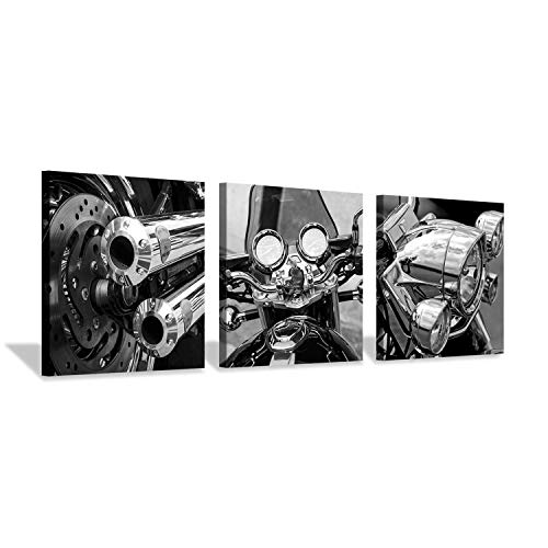 Hardy Gallery Motorcycle Artwork Vintage Wall Art: Black & White Wall Decor Picture Print on Canvas - Harley Motorcycle Art
