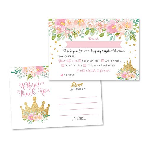 25 Princess Fill In The Blank Thank You Cards for Kids, Royal Queen Crown Postcard Idea, Gold And Pink Floral Castle Carriage Party Note, Little Girl Toddler Birthday, Blush Confetti Glitter Theme (Lucky Crown Design)