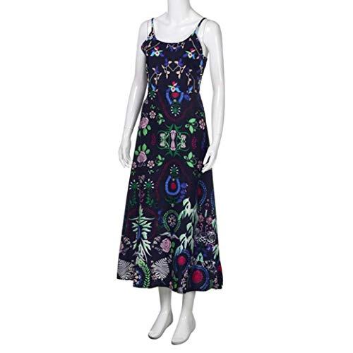 New Print Long 2018 Bohemian Sexy Sleeveless Blue Beach Dress Summer Alimao Floral Dress Dark Womens Sling 5aqYRHR