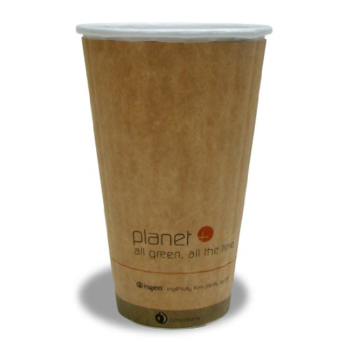 Planet + 100% Compostable PLA Laminated Double Wall Insulated Hot Cup, 16-Ounce, 600-Count Case by Stalkmarket