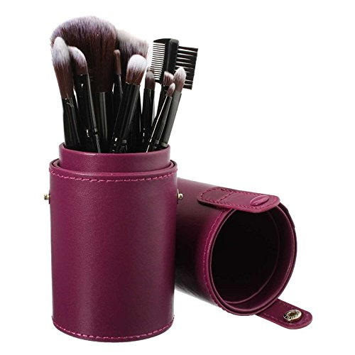 New Empty Portable Makeup Brush Round Pen Holder Cosmetic Tool PU Leather Cup Container Solid Case