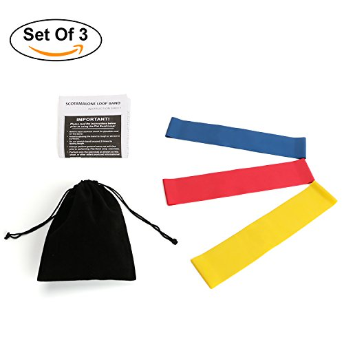 Resistance Bands - Scotamalone Resistance Loop Bands - Set of 3, Workout Bands - Best for Stretching, Physical Therapy and Home Fitness with Instruction Guide & Handy Carry Bag - Office Starwood