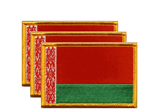 """PACK of 3 Belarus Flag Patches 3.50"""" x 2.25"""", Belarusian Embroidered Iron On or Sew On Flag Patch Emblem"""