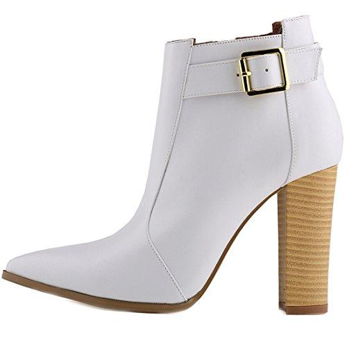 Azbro Moda Bota de Tacón Alto Fornido Tobillo de Color Sólido Blanco