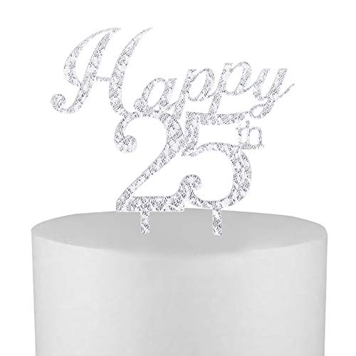 - Happy25th Cake Topper,Silver Happy 25th Birthday Party Decorations Supplies,Happy 25th Anniversary Party Decoration