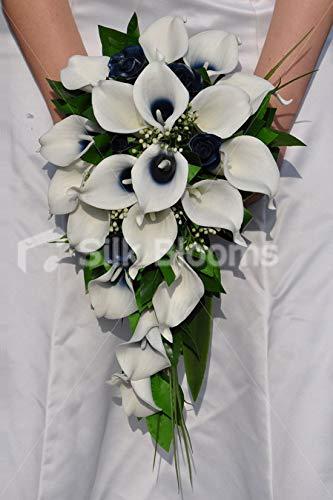 Silk Blooms Ltd 人工ネイビーとアイボリーのセンチュレッドカラー リリーカスケードブーケ ローズとフォリッジ付き B07H8K33B7