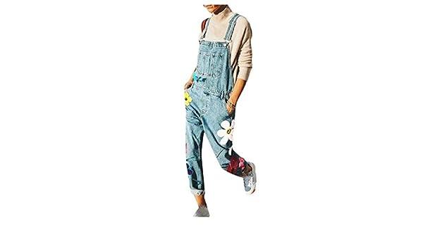 Fiere Womens Jumpsuit Loose Rompers Denim Printing Pockets Bib Pants