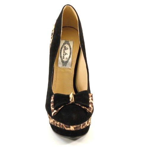 Brand New Almond Toe Bow Studded Wrapped Heel Platform Stiletto SH1331 BLACK LEOPARD mjgk4