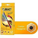 Lápis de Cor 24 cores sextavado c/12 Lápis bicolor 7422102 Bic, BIC, 7422104, Multicor, pacote de 12