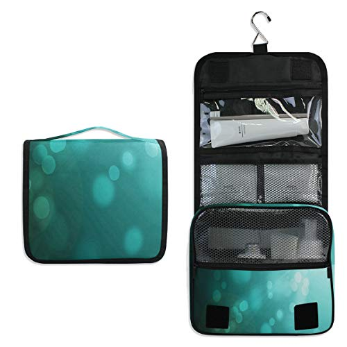 (Hanging Toiletry Bag Sunshine Turquoise Waterproof Wash Bag Makeup Organizer for Bathroom Men Women)