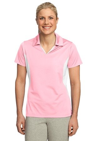 Sport-Tek Ladies Side Blocked Micropique Sport-Wick Polo, XXL, Light Pink/White