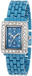 "Breda Kids' 8138-blue ""Serena"" Petite Rhinestone Rectangular Bezel Metal Band Watch"