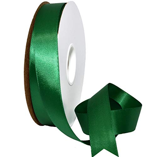 Morex Ribbon 088 Double Face Satin Ribbon, 7/8 Inch by 50 Yards, Forest - Green Ornament Satin Tree