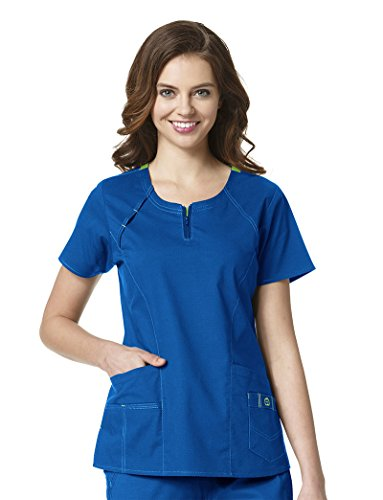 WonderWink Women's Wonderflex Heaven Scrub Top, Royal, (Denim Scrub Top)