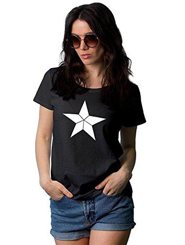 Decrum Womens Black Captain T Shirts | Capt White Star, 2XL -