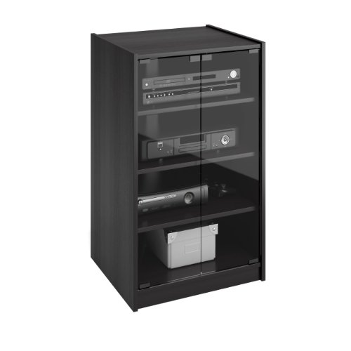 Sonax CR-2360 Cranley Wide Enclosed Component Stand, 21-Inch, Ravenwood Black (Black Media Cabinet With Glass Doors)
