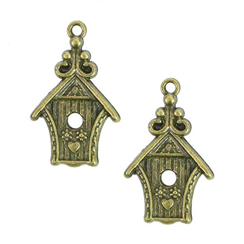 Monrocco 30 PCS Love Bird Elf House Charms Antique Alloy for Jewelry Making Pendant DIY Craft Accessory