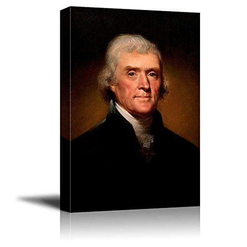wall26 - Portrait of Thomas Jefferson by Rembrandt Peale (3rd President of The United States) - American Presidents Series - Canvas Wall Art Gallery Wrap Ready to Hang - 12x18 inches]()