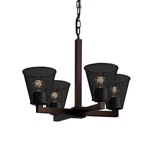 - Justice Design Group MSH-8829-50-DBRZ Wire Mesh Modular 4-Light Chandelier, 16-Inch by 20-Inch, Dark Bronze