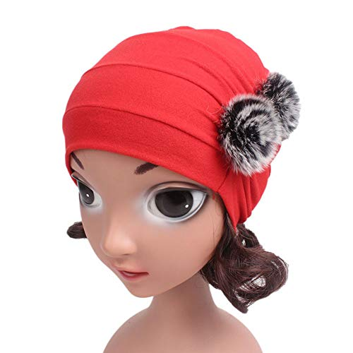 Casual Custom Bobble Head - Gbell Girls Boho Hat Pom Pom Beanies Turban Kids Soft Winter Fall Spring Baby Bonnets Head Wrap Cap for Girls Toddlers Age 3-8 Years Old