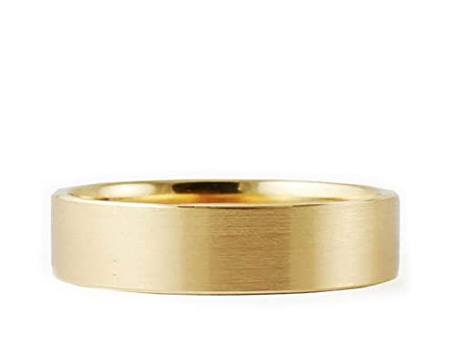 14k Yellow Gold Flat Brushed 4mm COMFORT FIT WEDDING BAND