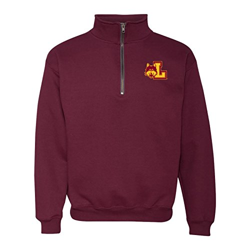UGP Campus Apparel AQ07 - Loyola University Chicago Ramblers Primary Logo LC (1/4) Quarter Zip Sweatshirt - Large - Maroon