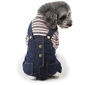 Pet dogs Stylish Jeans Clothes pet warm jumpsuits pet dogs cats apparel