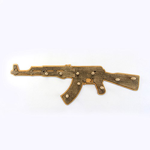 AK47 Wall Hooks, Personalized, Custom, Coat Rack, Clothes Hanger, Bed Room,  Pop Culture, Boys Gift, Wall Decor, Cool Home,WoodWork, 2 Layers Inactive