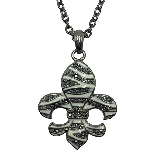 Fleur De Lis with Rhinestones on Long Chain Necklace (Zebra Stripe Print Gun Metal) (Enamel Mardis Gras Charm)