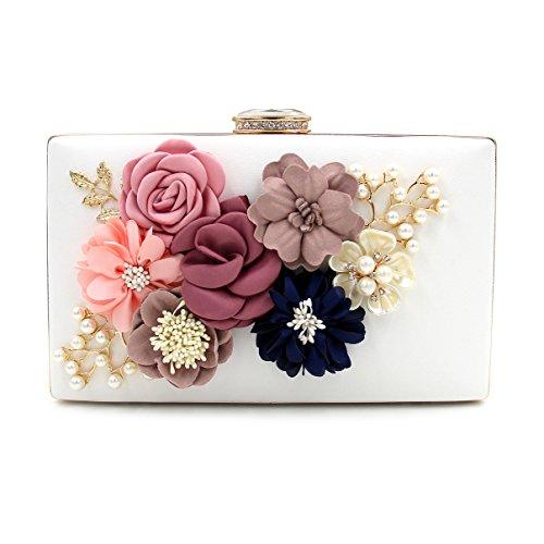 Hard White Bags Clutch Beading Case Wedding Bags Purse for Flada Women Flower gFqPd7d