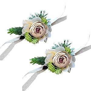 Yokoke Artificial Peony Silk Flower Boutonniere Bouquet Corsage Wristlet Vintage Fake Succulent Plants Pink Peach For Wedding Decor 2 Pc (wristlet) 1