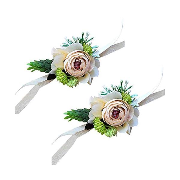 Yokoke-Artificial-Peony-Silk-Flower-Boutonniere-Bouquet-Corsage-Wristlet-Vintage-Fake-Succulent-Plants-Pink-Peach-For-Wedding-Decor-2-Pc-wristlet