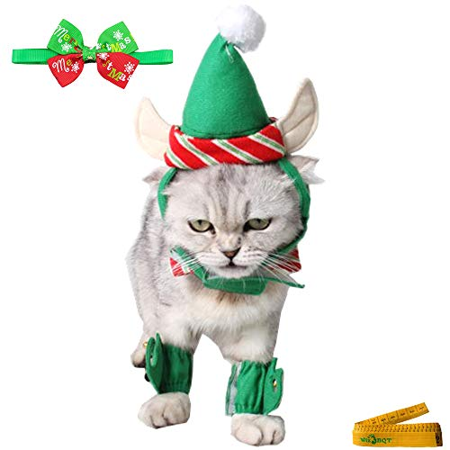 - Wiz BBQT Cute Christmas Elf Costume Green and Red Stripes Hat Collar Ankle Cuffs Set for Small Cats Dogs Rabbits Pets Kitten Puppy