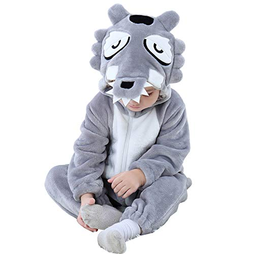 Kirmoo Baby Onesie Pajama Costumes Animals for Kids Toddler Boys Girls Zipper Hooded Romper Jumpsuit Outfits Wolf]()