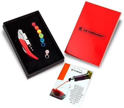Le Creuset Set de regalo con sacacorchos sommelier de doble palanca, 5 hojas antigoteo, 6 marcadores de copas, GS142