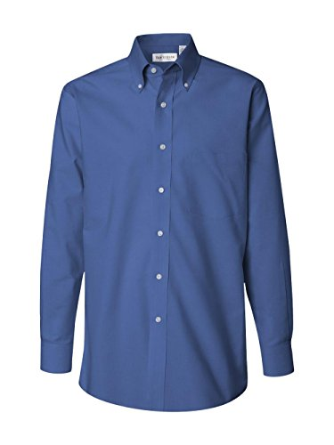 Van Heusen Men's Long Sleeve Blended Pinpoint Oxford Shirt, English Blue, Large Button Down Pinpoint Oxford Shirt