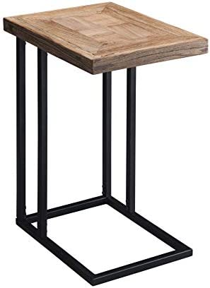 Knocbel End Table Sofa Couch Side Snack Laptop Table with Wood Tabletop Metal Base