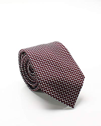 Sean John Men's Silk Geometric Neck Tie (Red/Black)