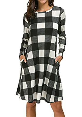 Simier Fariry Women's Long Sleeve Casual Swing Loose Fit Tunic Dress with Pockets